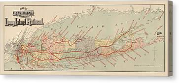 Antique Railroad Map Of Long Island By The American Bank Note Company - Circa 1895 Canvas Print by Blue Monocle