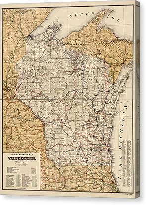 Antique Railroad Map Of Wisconsin - 1900 Canvas Print by Blue Monocle