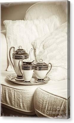 Antique Tea Set Canvas Print by Amanda Elwell