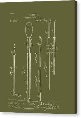Antique Veterinary Instrument Patent 1888 Canvas Print by Mountain Dreams