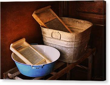 Antique Wash Tubs Canvas Print by Maria Angelica Maira