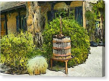 Antique Wine Press 3 Canvas Print by Barbara Snyder