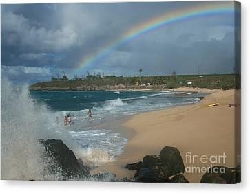 Anuenue - Aloha Mai E Hookipa Beach Maui Hawaii Canvas Print by Sharon Mau