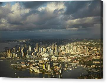 Anzac Bridge, Pyrmont, Sydney Cbd Canvas Print by David Wall
