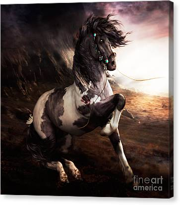 Apache Blue Canvas Print by Shanina Conway