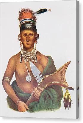 Appanoose, A Sauk Chief, 1837, Illustration From The Indian Tribes Of North America, Vol.2 Canvas Print by George Cooke