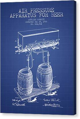 Apparatus For Beer Patent From 1900 - Blueprint Canvas Print by Aged Pixel