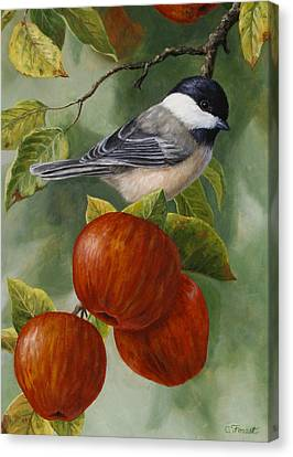 Apple Chickadee Greeting Card 2 Canvas Print by Crista Forest