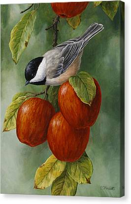 Apple Chickadee Greeting Card 3 Canvas Print by Crista Forest