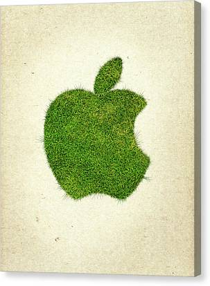 Apple Grass Logo Canvas Print by Aged Pixel