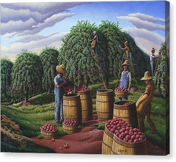 Apple Harvest - Autumn Farmers Orchard Farm Landscape - Folk Art Americana Canvas Print by Walt Curlee