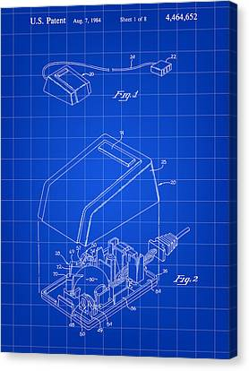 Apple Mouse Patent 1984 - Blue Canvas Print by Stephen Younts