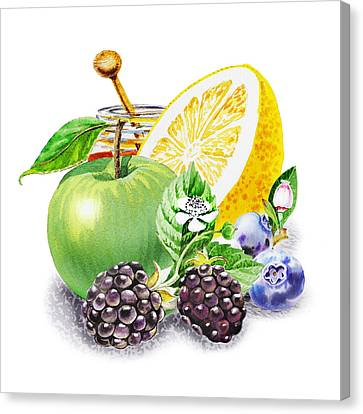 Apple Orange And Berries Canvas Print by Irina Sztukowski