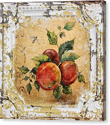 Apples And Bee On Vintage Tin Canvas Print by Jean Plout