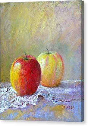 Apples On A Table Canvas Print by Nancy Stutes