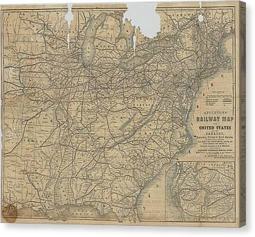 Appleton's Railway Map Of The United States And The Canadas Canvas Print by Cody Cookston