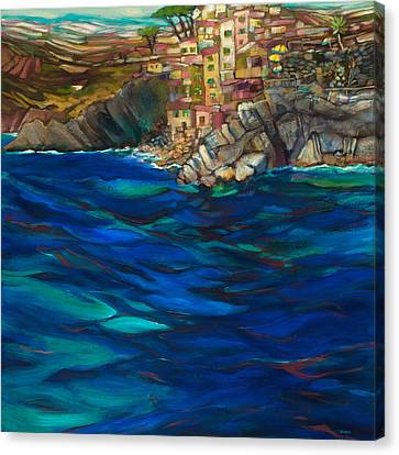 Approach To Riomaggiore Canvas Print by Jen Norton