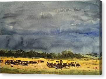 Approaching Storms In Tarangire Tanzania Canvas Print by James Nyika