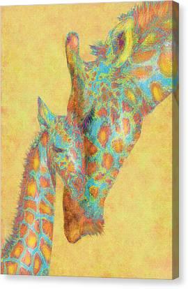 Aqua And Orange Giraffes Canvas Print by Jane Schnetlage