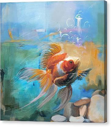 Aqua Gold Canvas Print by Catf