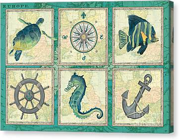 Aqua Maritime Patch Canvas Print by Debbie DeWitt