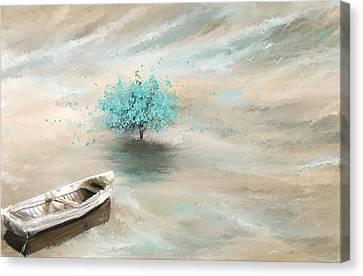Aqua Tree Of Life Canvas Print by Lourry Legarde