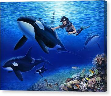 Aquaria's Orcas Canvas Print by Stu Shepherd