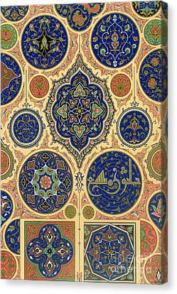 Arabian Decoration Plate Xxvii From Polychrome Ornament Canvas Print by Albert Charles August Racinet