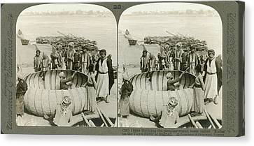 Arabs Building A Kufa Canvas Print by Underwood Archives