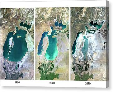 Aral Sea In 1990 Canvas Print by Planetobserver
