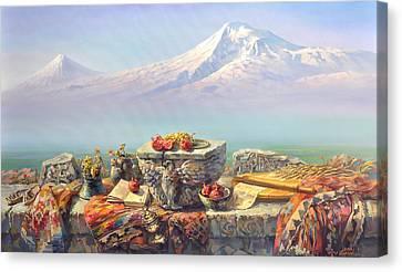 Ararat With A Lavash Canvas Print by Meruzhan Khachatryan