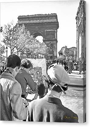 Arc De Triomphe Painter - B W Canvas Print by Chuck Staley