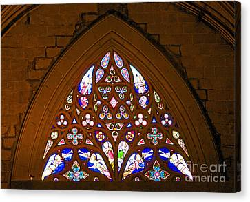 Arched Stained Glass Window Canvas Print by Cindy Lee Longhini