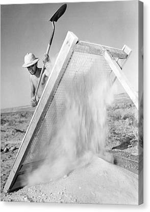 Archeologist At Work Canvas Print by Underwood Archives
