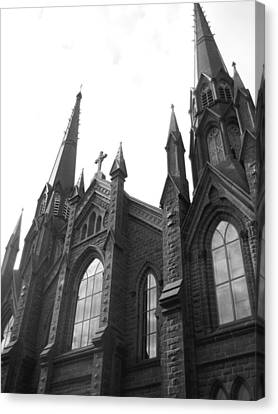 architecture churches . Gothic Spires in Black and White  Canvas Print by Ann Powell