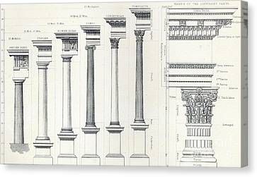 Architecture I Orders Of Architecture Engraved By Charles Lawrie Canvas Print by  John Burley Waring