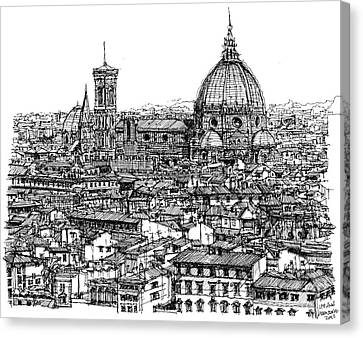 Architecture Of Florence Skyline In Ink  Canvas Print by Adendorff Design