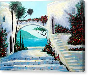 Archway  By The Sea Canvas Print by Larry Cirigliano