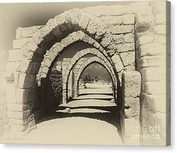 Archway Ruins At Caesarea Canvas Print by Arik Baltinester