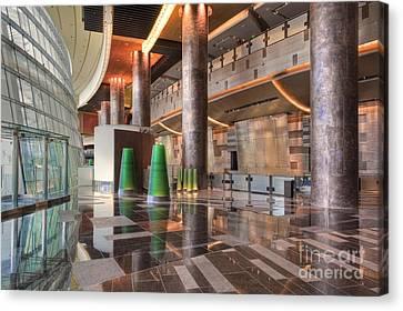 Aria Hotel City Center Three-story Atrium Bathed In Natural Light Canvas Print by David Zanzinger