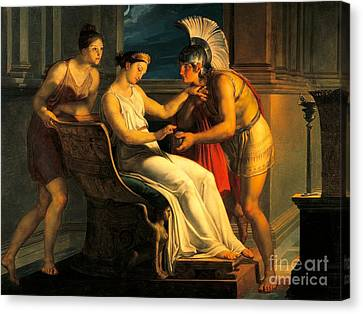 Ariadne Giving Some Thread To Theseus To Leave Labyrinth Canvas Print by Pelagius Palagi