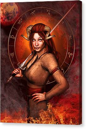 Aries Fantasy Zodiac Edition Canvas Print by Britta Glodde