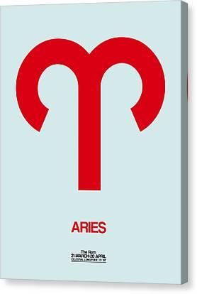 Aries Zodiac Sign Red Canvas Print by Naxart Studio
