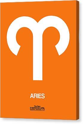 Aries Zodiac Sign White On Orange Canvas Print by Naxart Studio