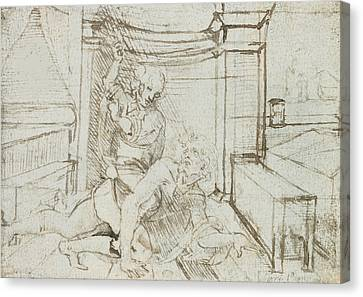 Aristotle And Phyllis Canvas Print by Leonardo Da Vinci
