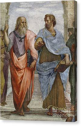 Aristotle And Plato Detail Of School Of Athens Canvas Print by Raffaello Sanzio of Urbino