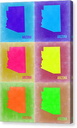 Arizona Pop Art Map 4 Canvas Print by Naxart Studio