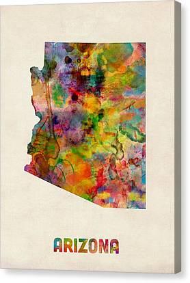 Arizona Watercolor Map Canvas Print by Michael Tompsett