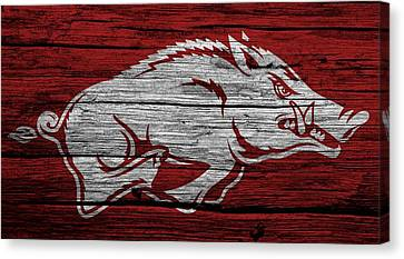 Arkansas Razorbacks On Wood Canvas Print by Dan Sproul