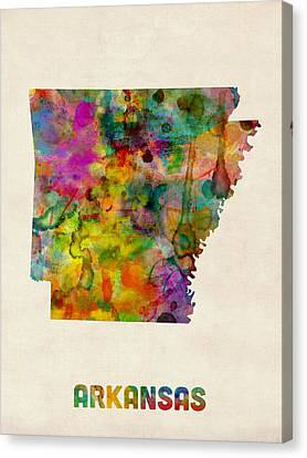 Arkansas Watercolor Map Canvas Print by Michael Tompsett